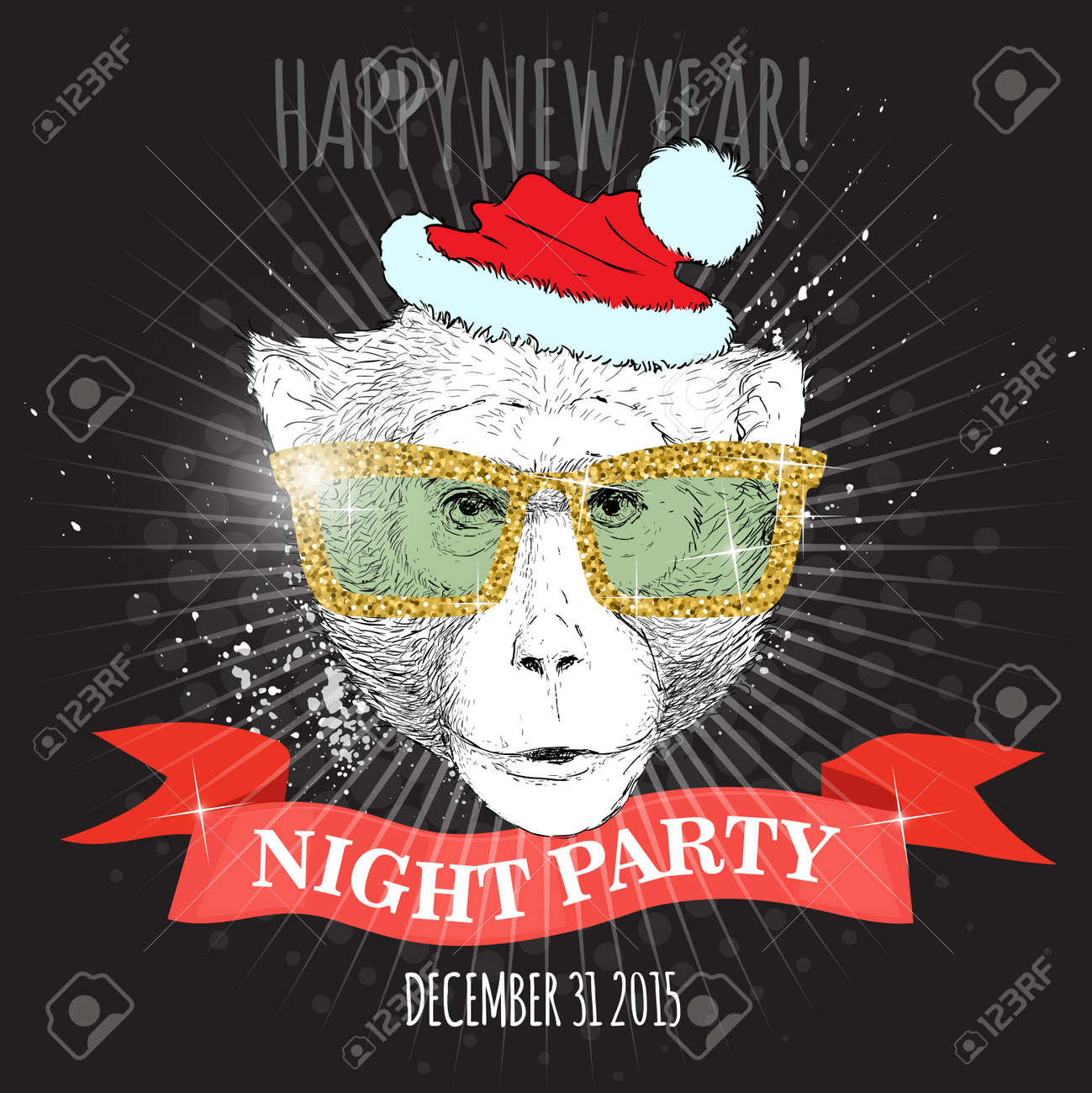 happy new year night party poster macaque monkey hipster with glitter glasses and christmas hat