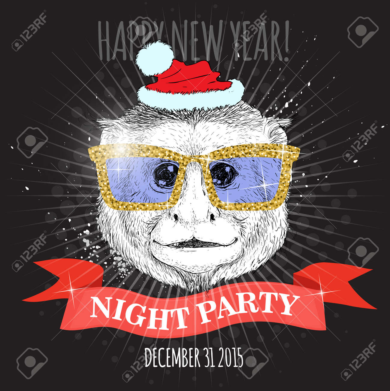 happy new year night party poster capuchin monkey hipster with glitter glasses and christmas hat