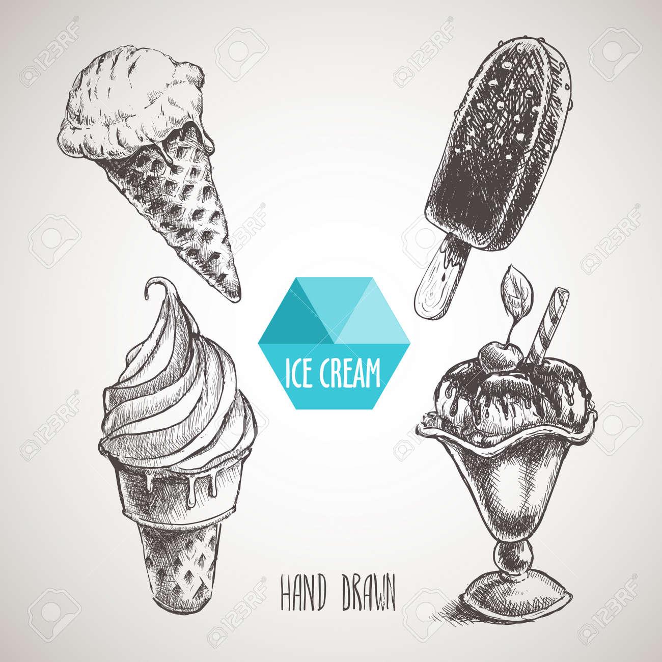Set of hand drawn sketch style ice cream. Ice cream cone an chokolate ice cream - 58572859