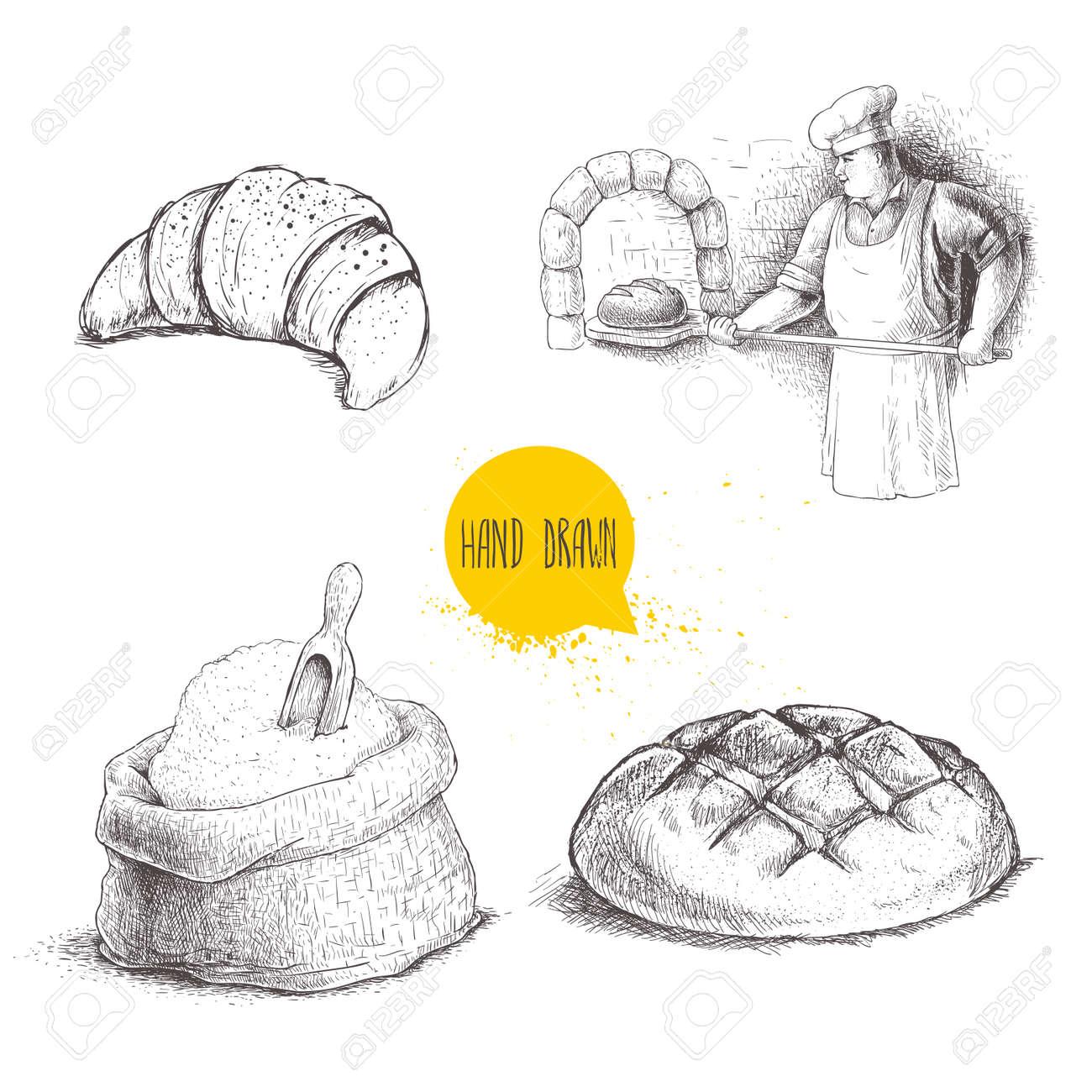 Illustrations De Boulangerie Set Dessinés à La Main Baker Faisant