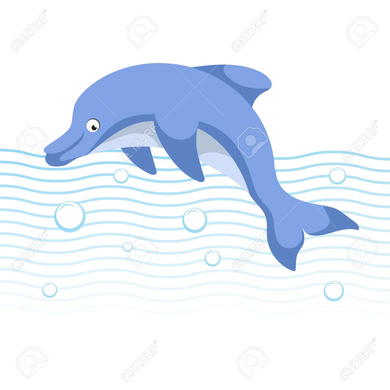 かわいい漫画トレンディなスタイルのイルカがジャンプします海の波や泡