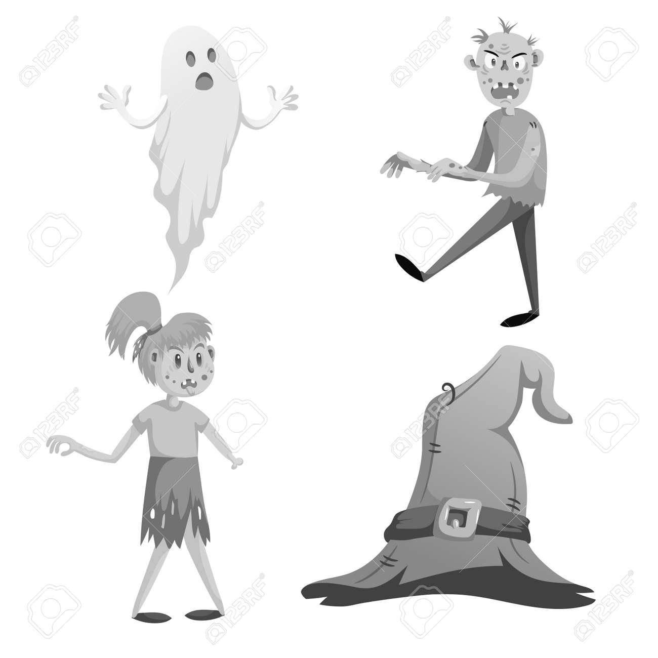 Ensemble De Symboles De Halloween Monochrome De Dessin Animé Fantôme Drôle Marche Zombie Fille Zombie Sans Main Et Chapeau De Sorcière Avec