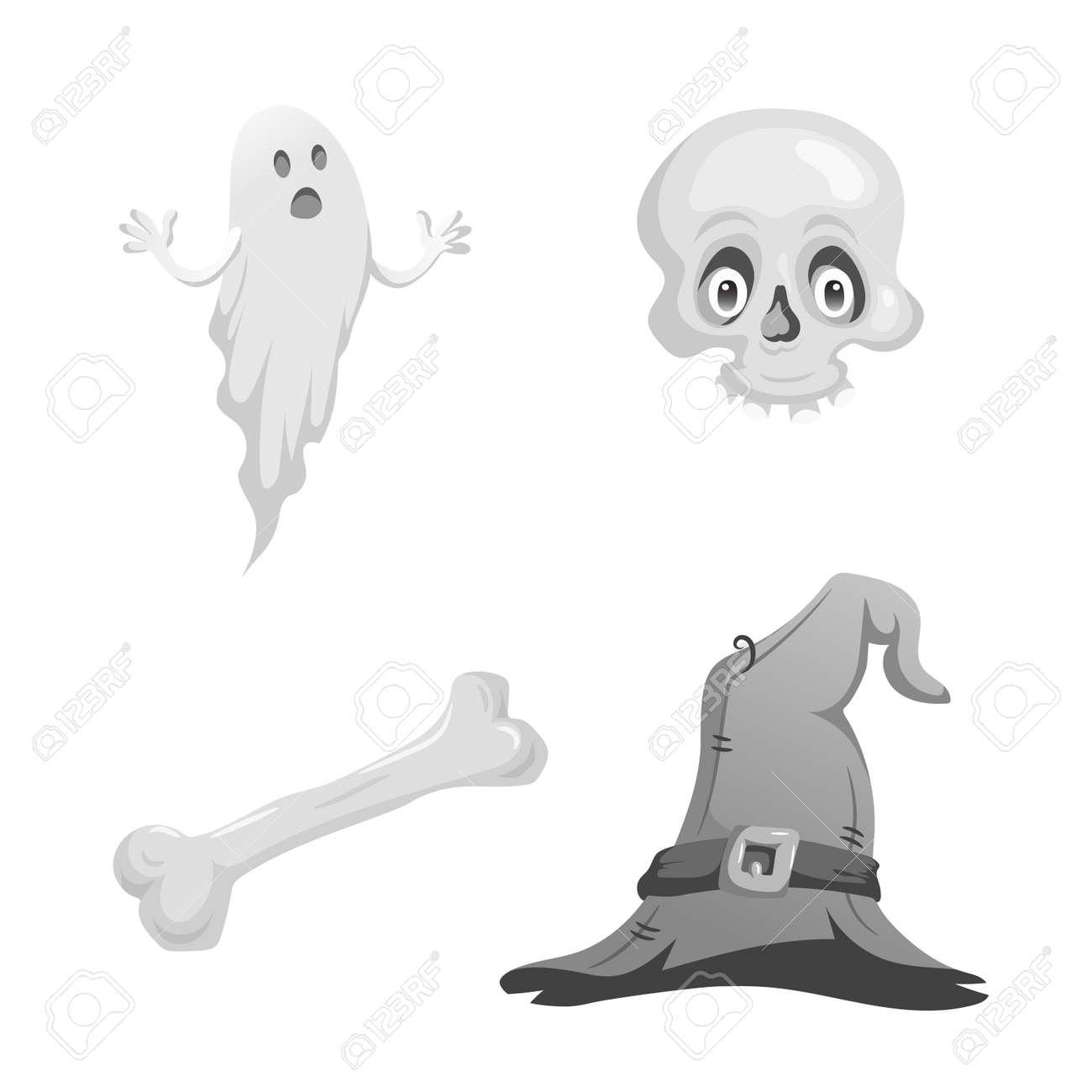 Cartoon Monochrome Halloween Symbols Set  Funny Ghost, Skull