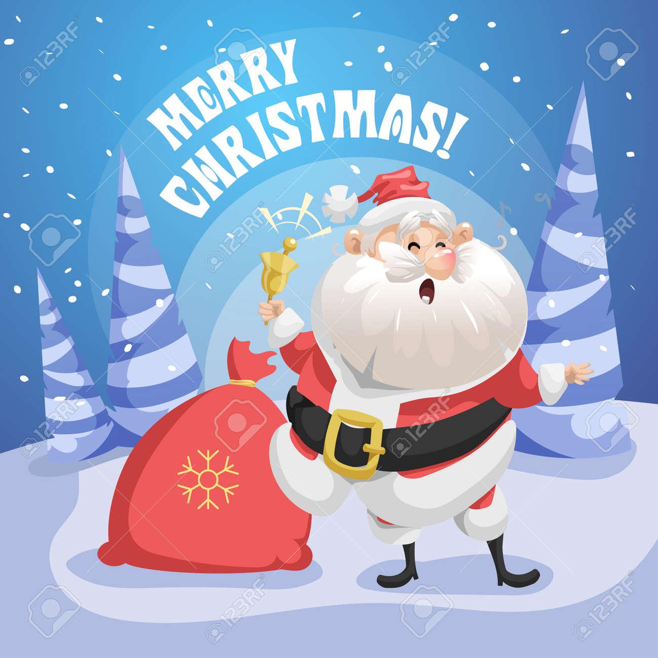 Chanson Un Joyeux Noel.Bonne Chanson Chantant Pere Noel Dans La Foret Avec Sac Cadeau Et Sonnerie Affiche De Joyeux Noel Illustration De Gradient Simple De Vacances
