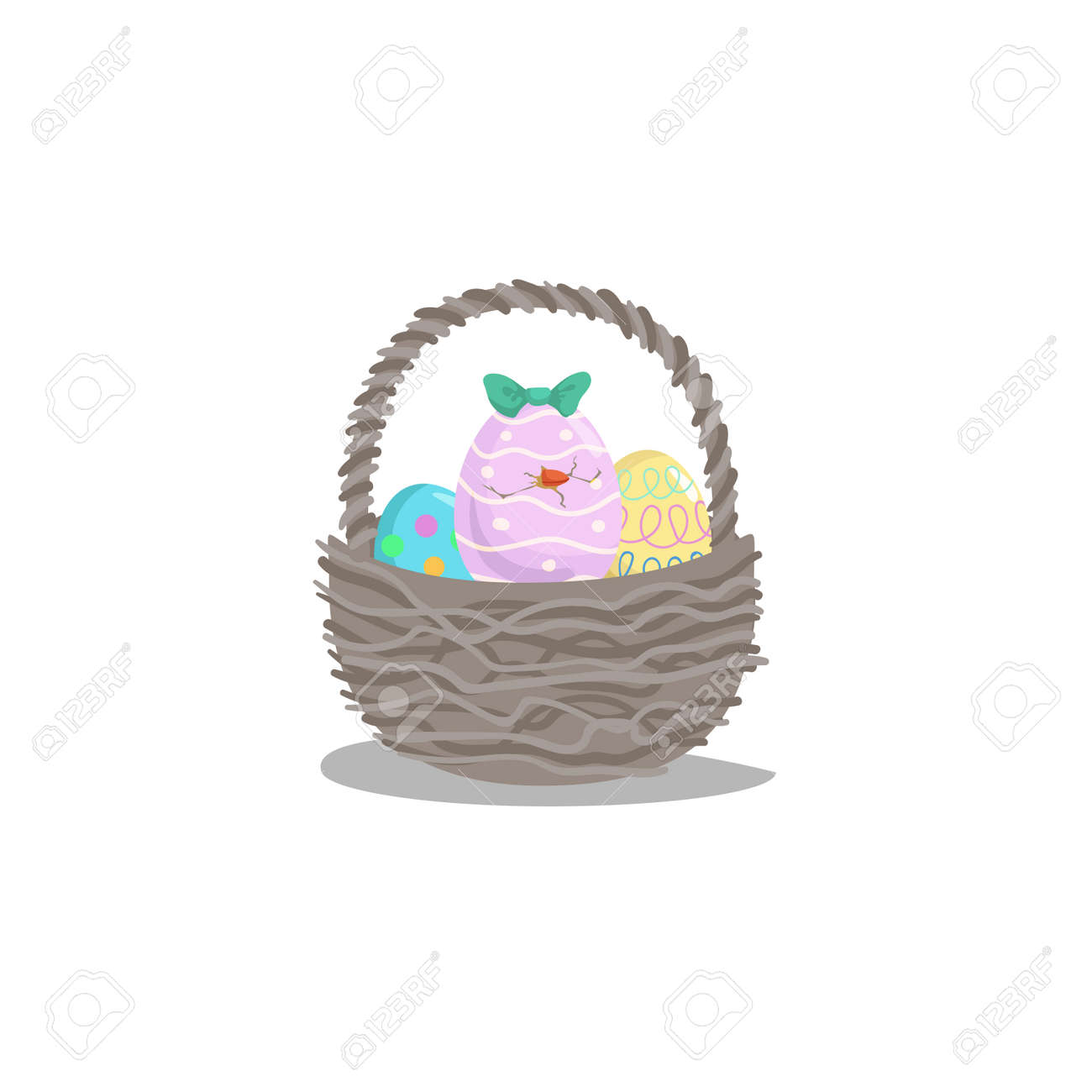 Cartoon Basket With Easter Colorful And Painted Eggs And Hatching