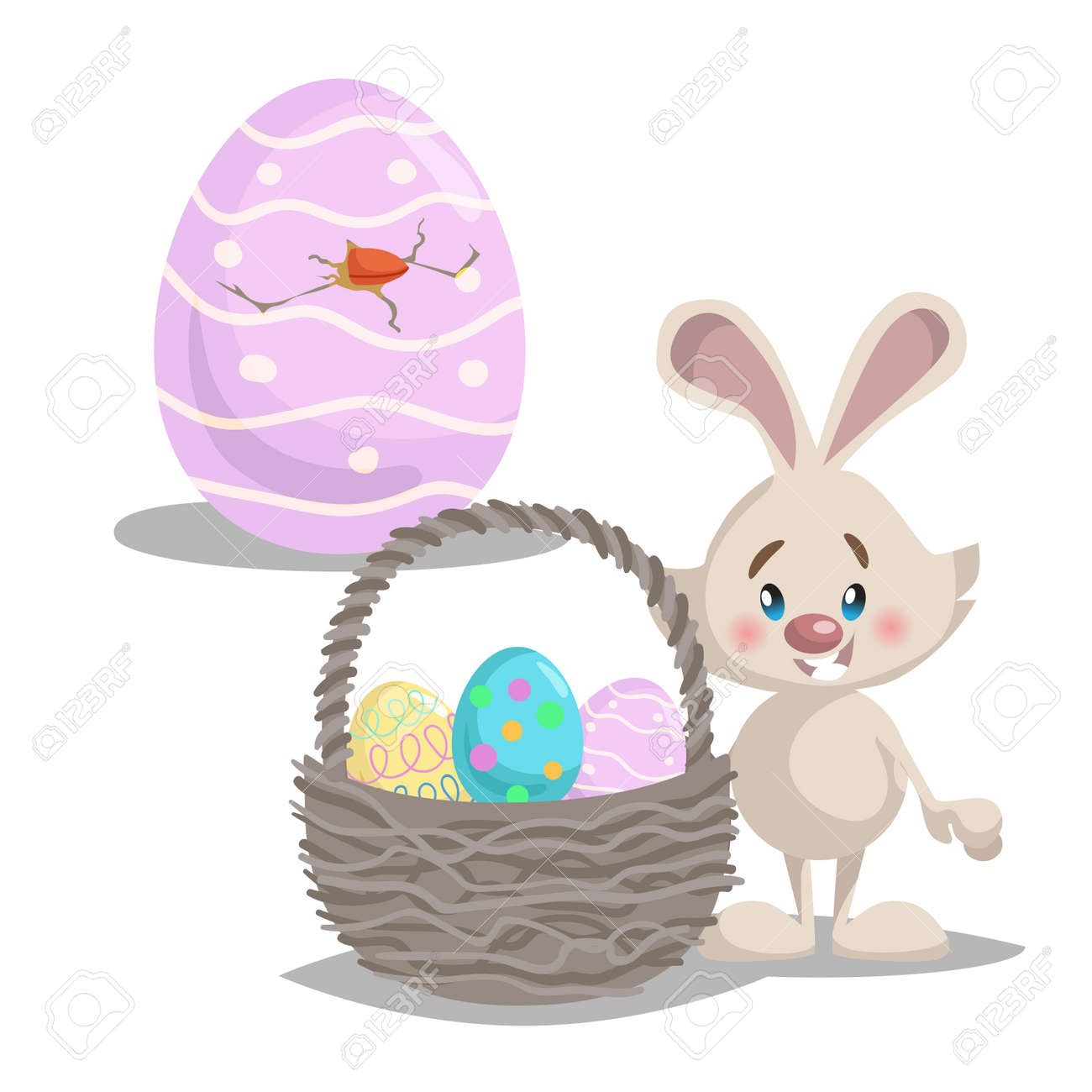 Cartoon Cute Smiling Easter Bunny With Big Basket And Painted