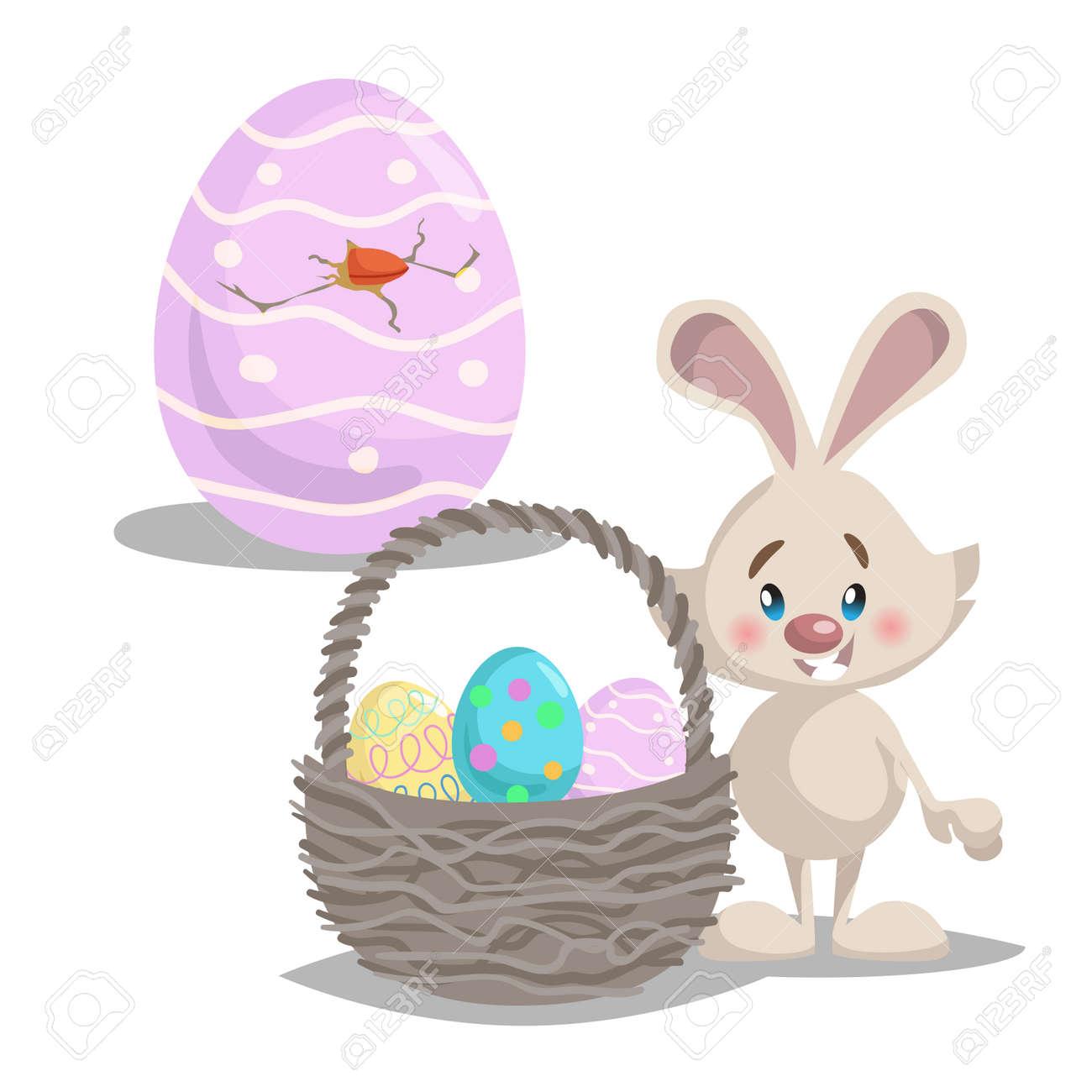 Desenho Animado Bonito Coelhinho Da Pascoa Com Cesta Grande E Ovos