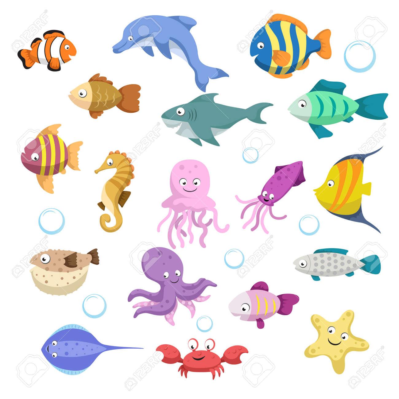 Conjunto Grande De Dibujos Animados Coloridos Animales De Arrecife
