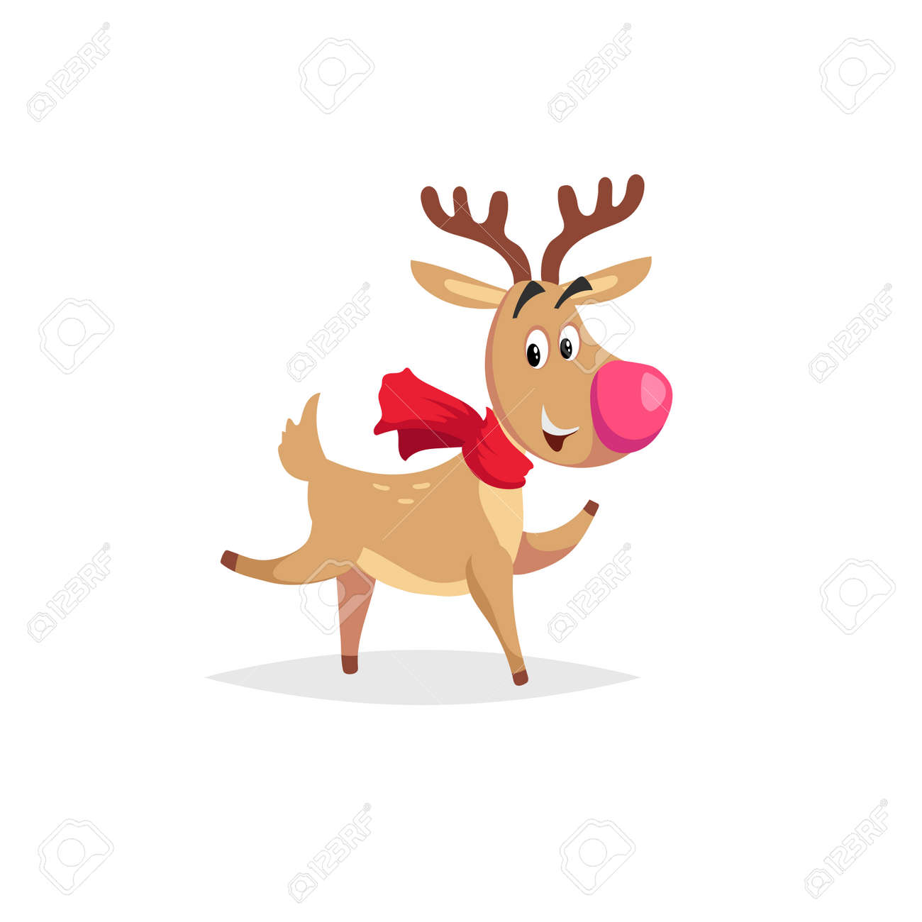 cartoon dancing or running reindeer with scarf and big red nose rh 123rf com New Year Horn Clip Art New Year's Blower Clip Art
