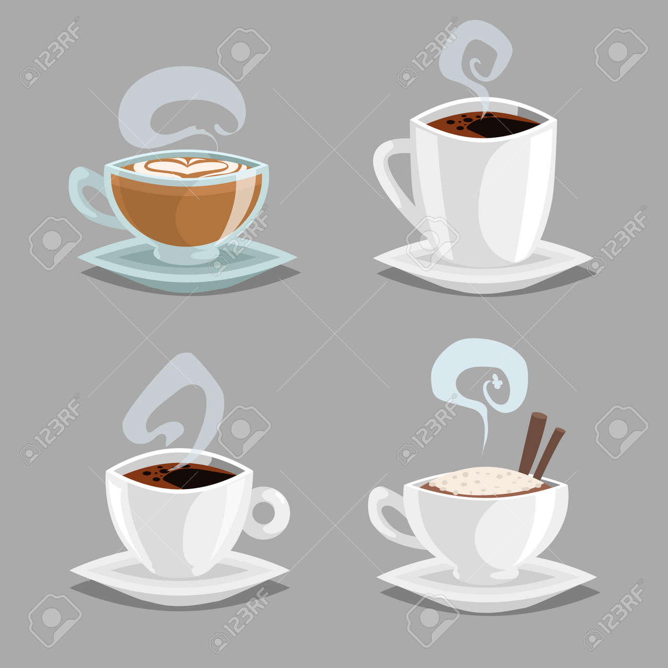 Cartoon Set Of Different Coffee Cups White And Clean Glass Cups Royalty Free Cliparts Vectors And Stock Illustration Image 124875374