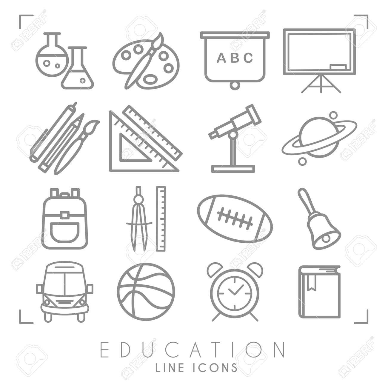 Outline Thin Black And White Icons Set Education Collection