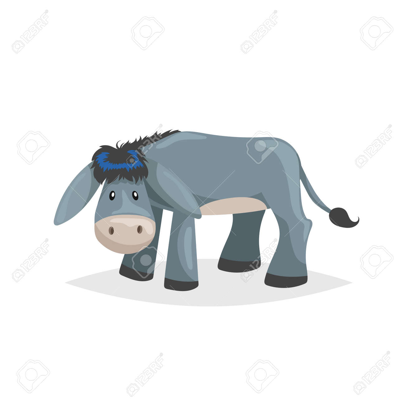 Cute cartoon donkey. Sad domestic farm animal. Vector illustration for education or comic needs. Vector drawing isolated on white background. - 123146624