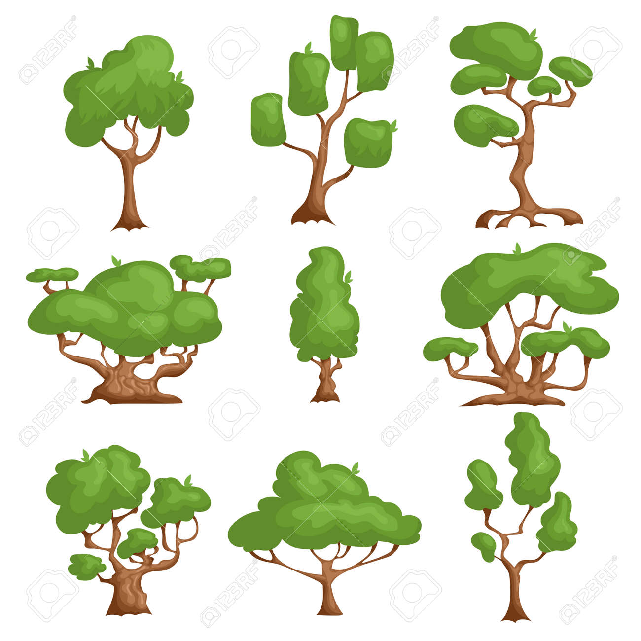 Cartoon trees set. Different types plants in comic style. Nature fantasy elements. Vector illustrations, icons isolated on white background. - 149666027