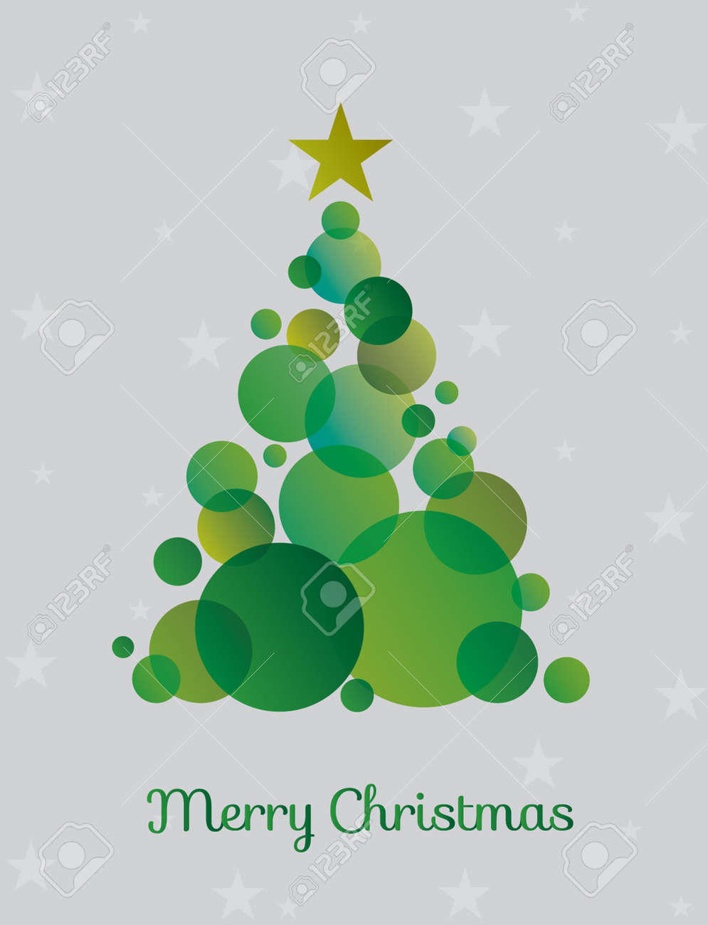 Christmas tree made green circles surrounded by stars. Vector illustration - 90743754