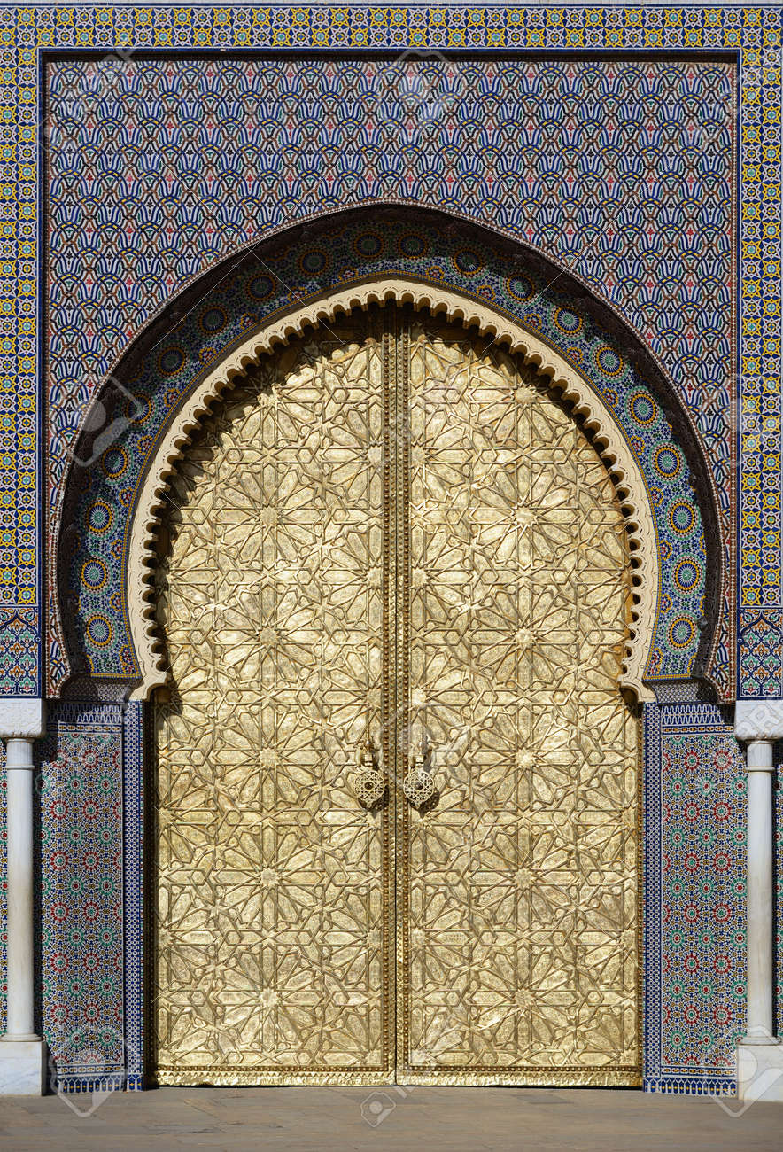 Big Golden Doors Of The Royal Palace Of Fes Stock Photo   36210677