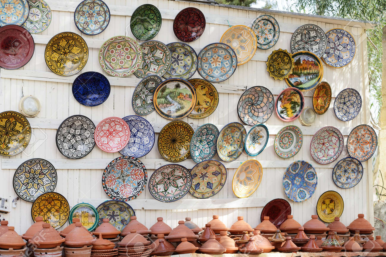 Genial Colorful Faience Pottery Dishes And Tajines On Display In Moroccan Market  Stock Photo   37623104