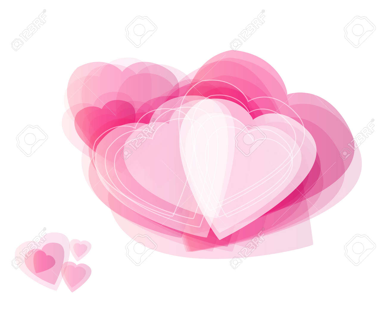 Different abstract hearts for valentines day on white background. Stock Photo - 17109416