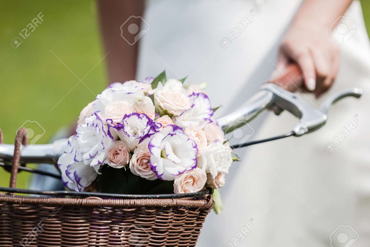 Wedding decoration details closeup of flower bouquet on retro stock photo wedding decoration details closeup of flower bouquet on retro bike handle bar junglespirit Gallery