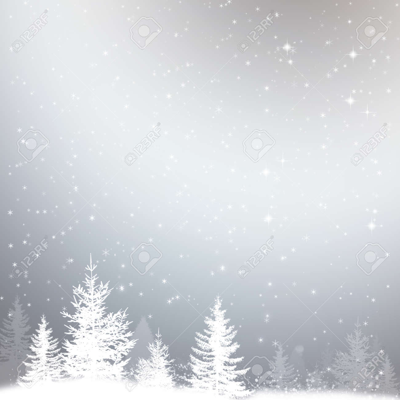 Winter Snow Christmas Background With Stars And Forest Stock Photo ...
