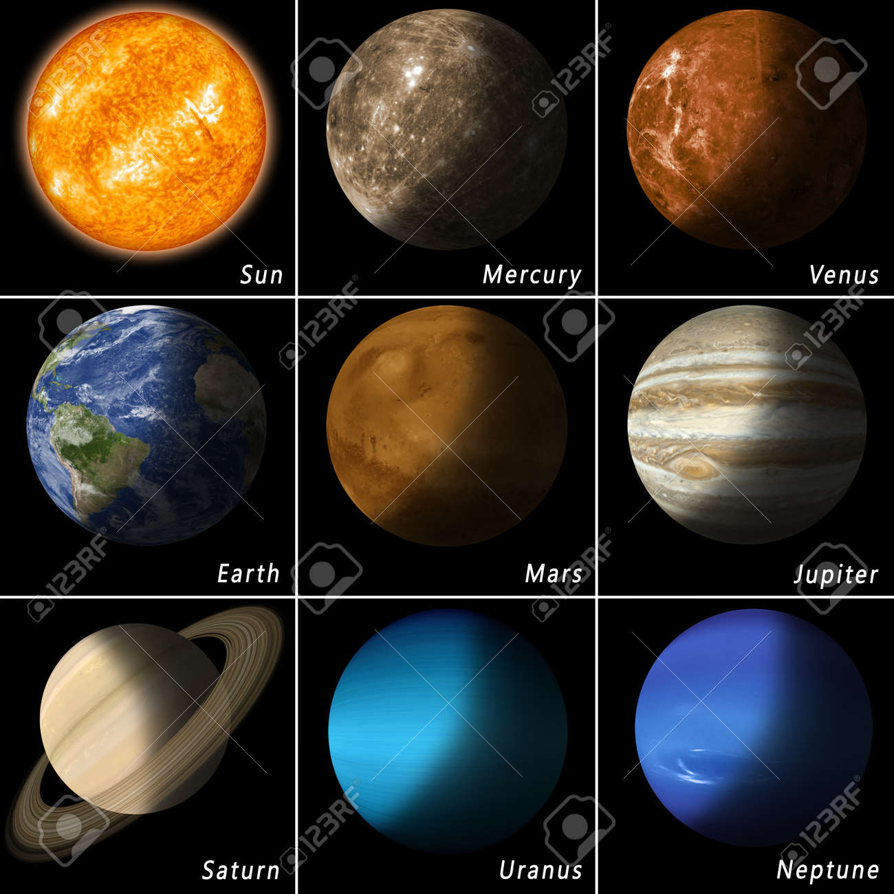 all best known solar system planets and the main star sun Stock Photo - 37559342