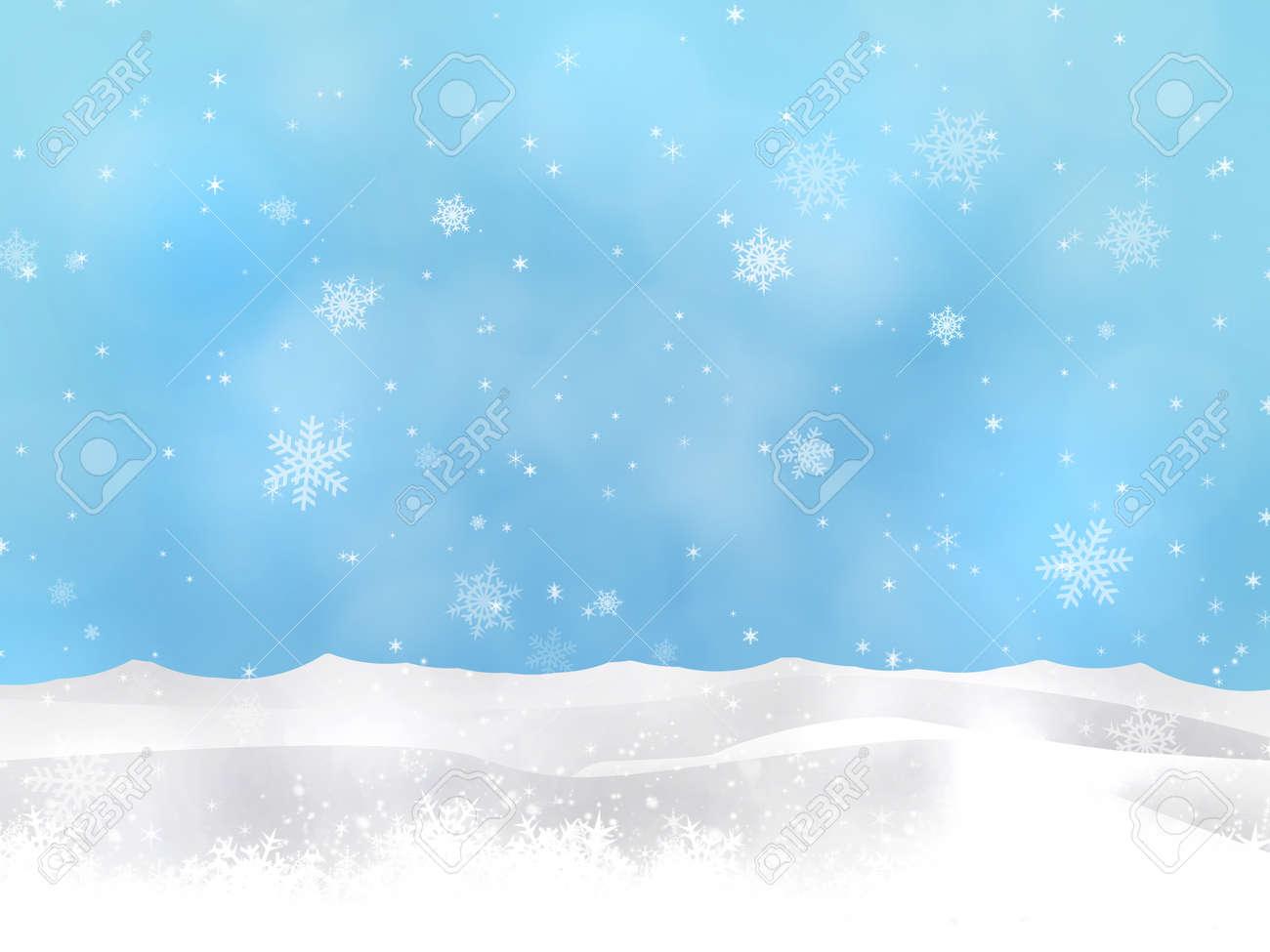 Winter Weihnachten Schnee Hügel Blauen Hintergrund Mit Verschwommen ...