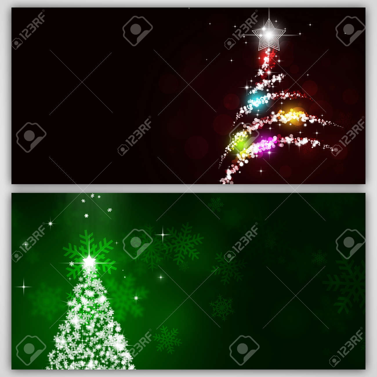 stock photo winter holiday snow tree banners for christmas and new year cards