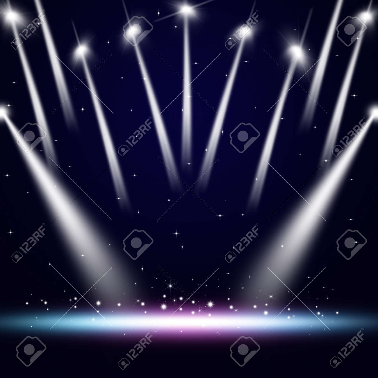 Music Event Background With Spotlights On The Stage Stock Photo, Picture  And Royalty Free Image. Image 61526272.