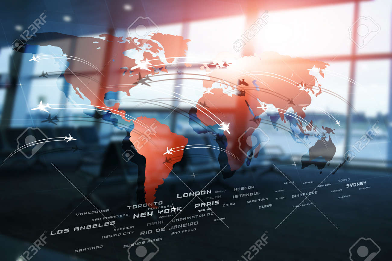 Business Aviation Background With Planes On World Map On Blurred