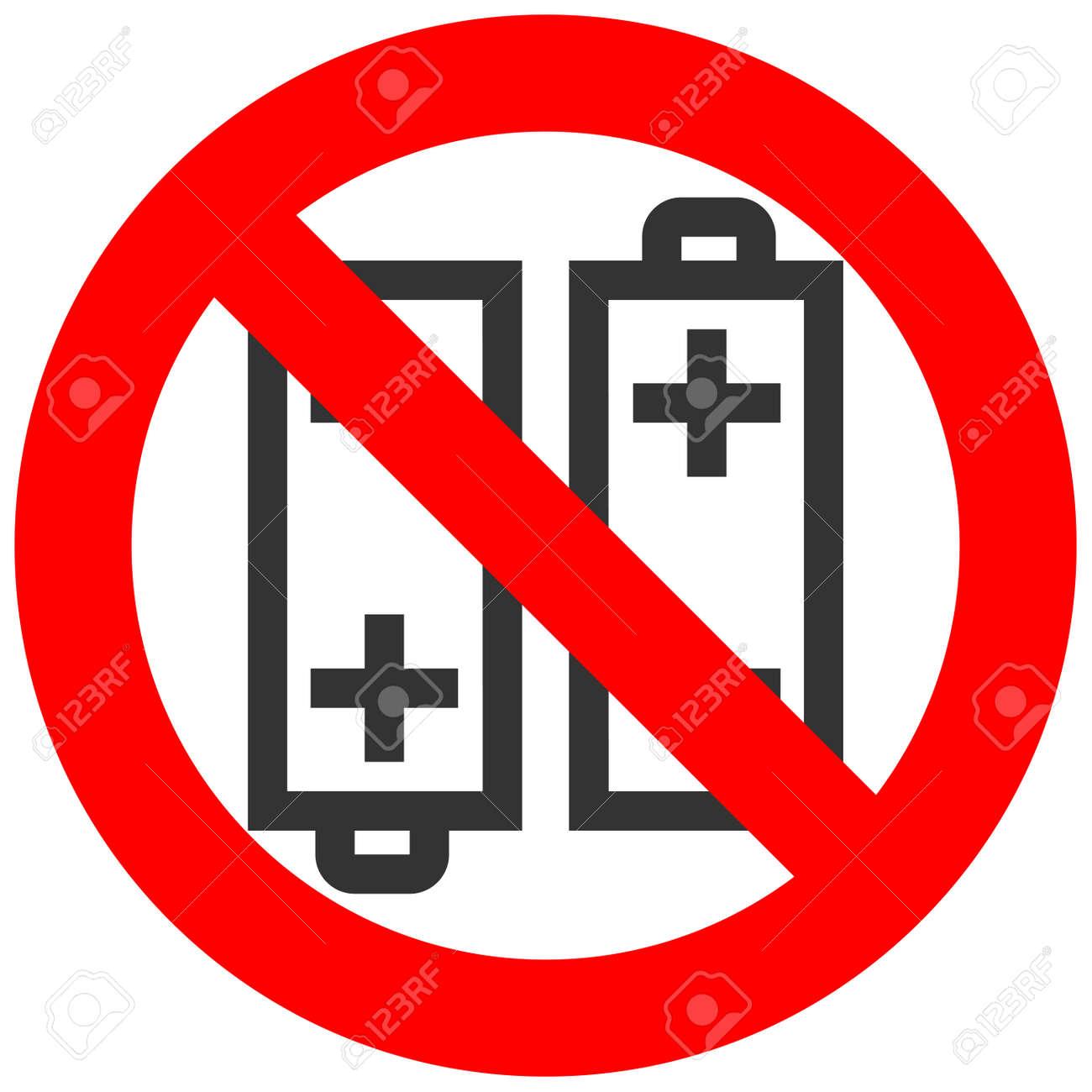 Verbotenes Zeichen Mit Batterie-Symbol Isoliert Auf Weißem ...