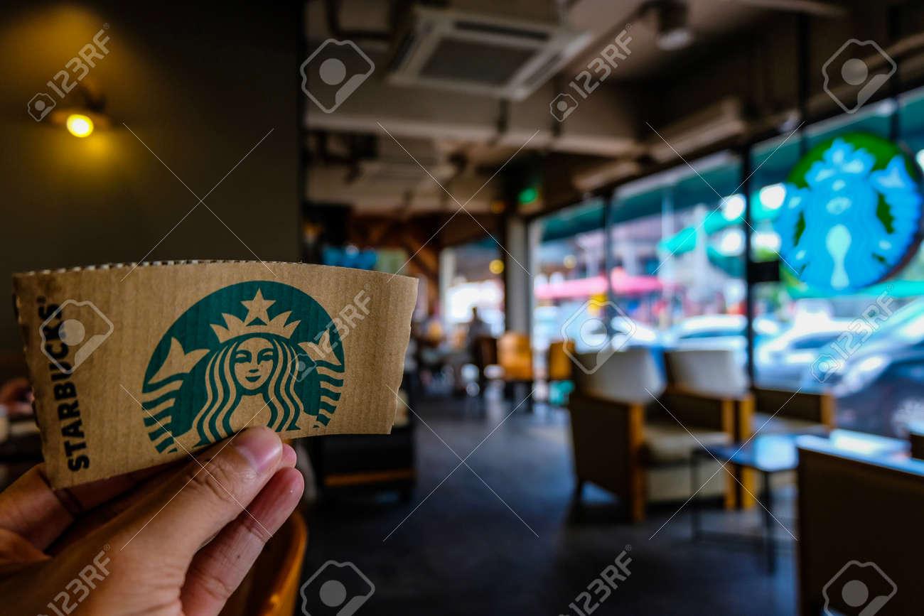 BANGKOK, THAILAND - JUNE 5, 2018: The Starbucks paper logo  Starbucks