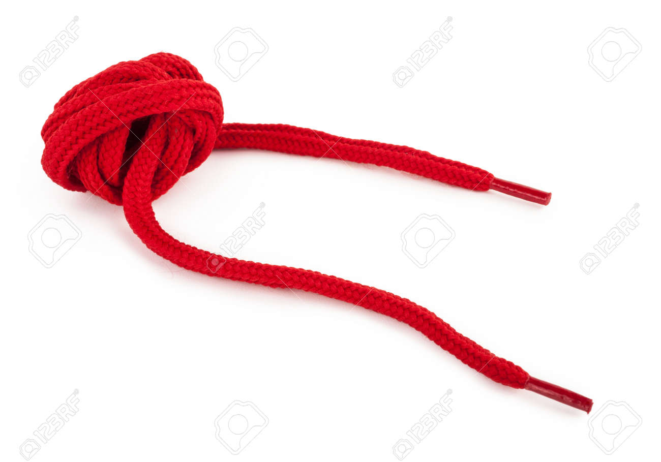 Red Shoelace Stock Photo, Picture And