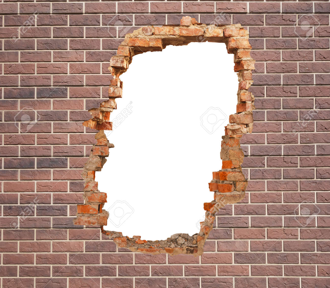 White hole in brick wall. - 154860467
