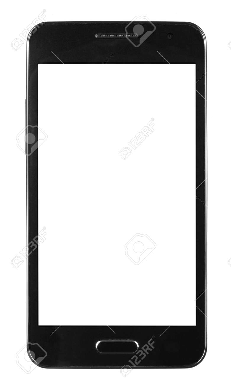 black smart phone with white screen isolated white background - 154926816