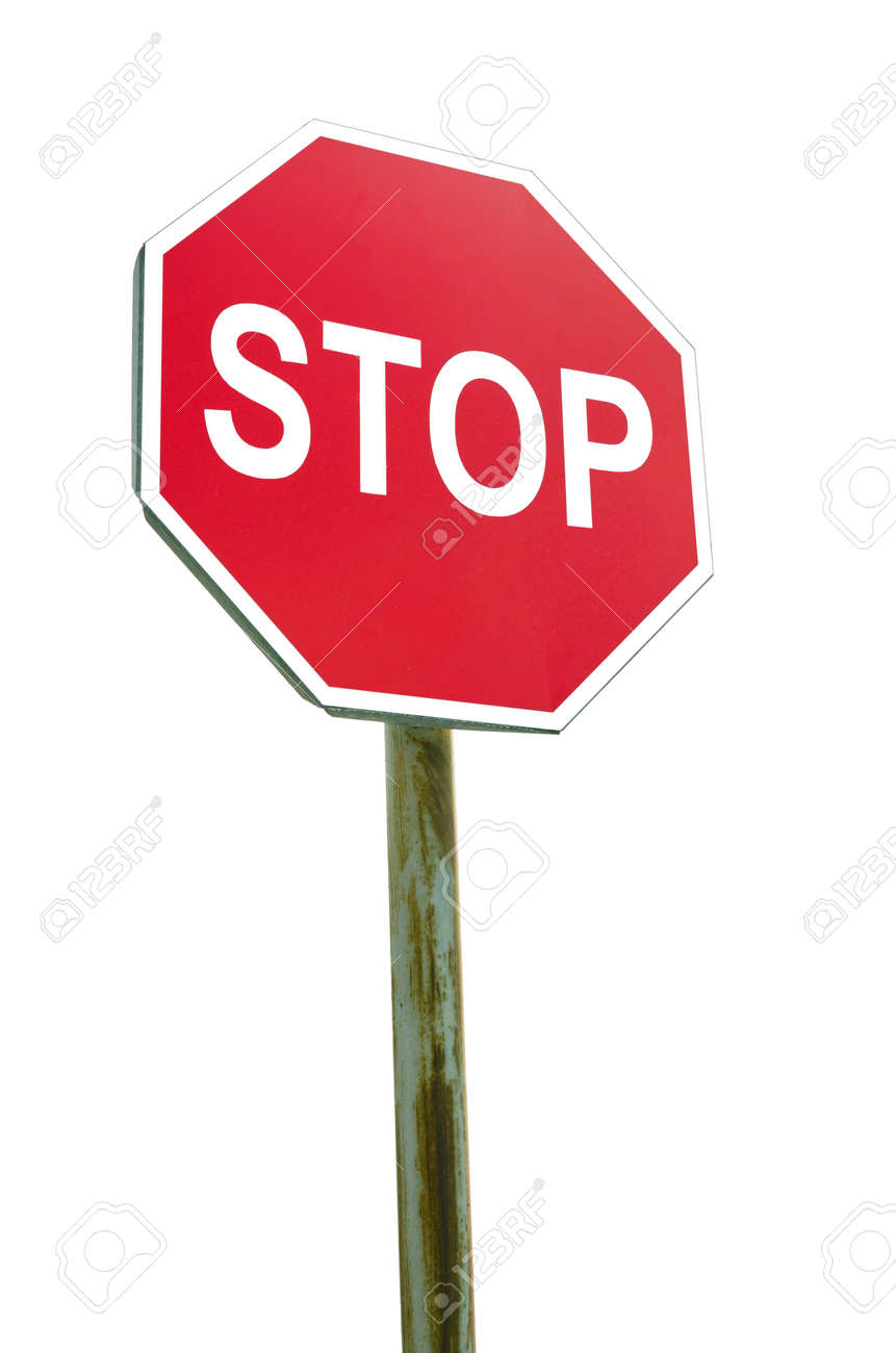 Stop sign on white background - 154929400