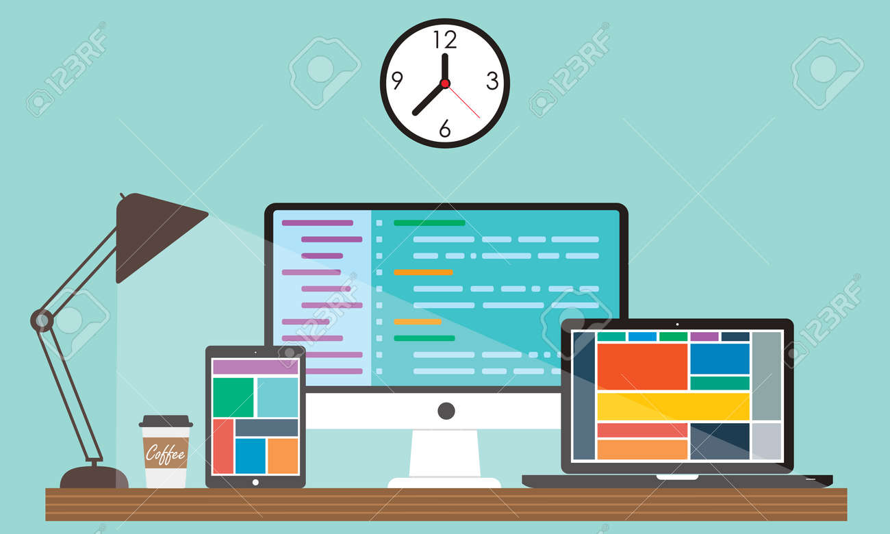 Web Designer Workplace Showing Desktop Laptop And Tablet Computer Royalty Free Cliparts Vectors And Stock Illustration Image 87437545