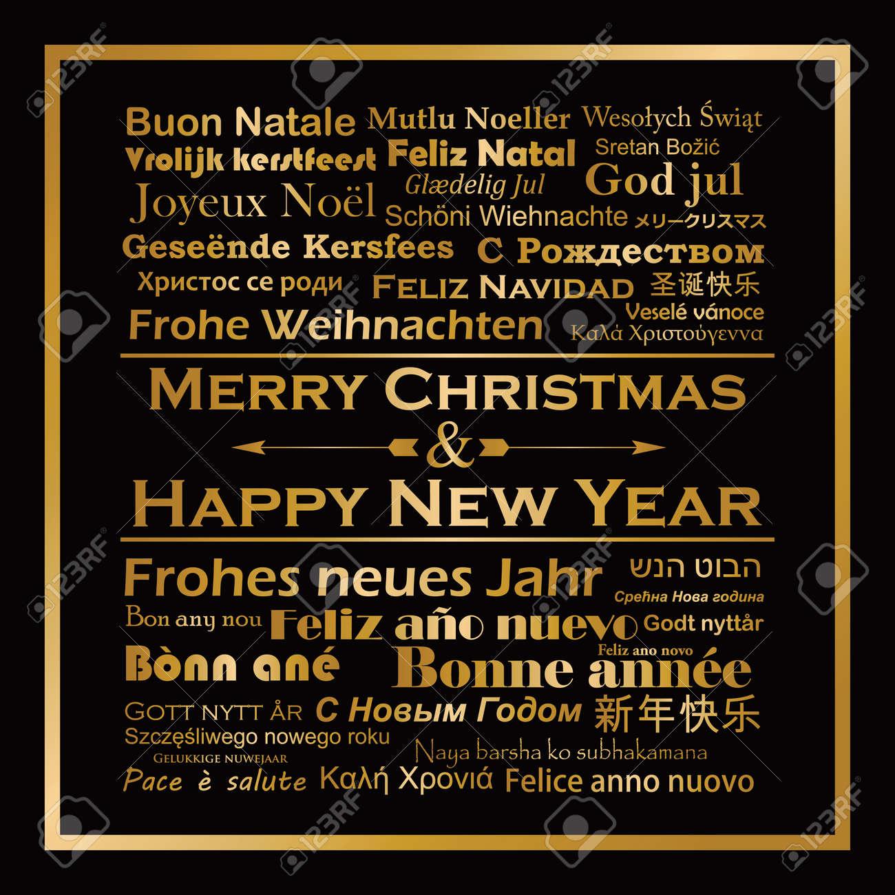 Frohe Weihnachten Und Ein Glückliches Neues Jahr In Allen Sprachen.Stock Photo