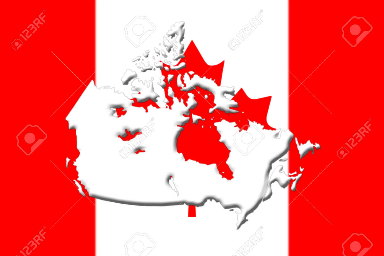 Map Of Canada Red.Canadian National Flag With Map Of Canada On It In Red And White