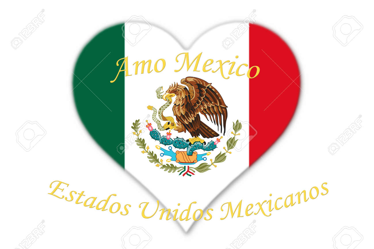 Mexican national flag with eagle coat of arms in shape of heart mexican national flag with eagle coat of arms in shape of heart with text amo mexico buycottarizona