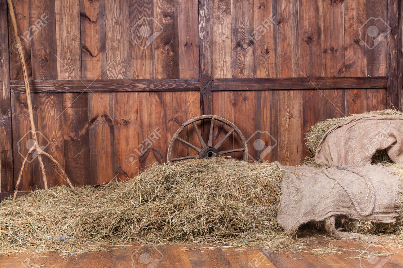 inside barn background. wood and hay background inside rural barn stock photo - 24423717 d