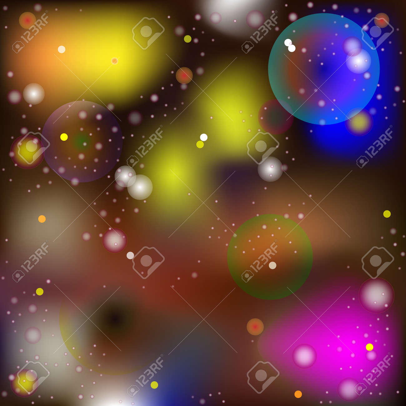 Vector Abstract Image in The Style of a Mysterious Macro and Microworld. Glowing Spheres and Balls Moving in Space, Blurred Background - 153302517