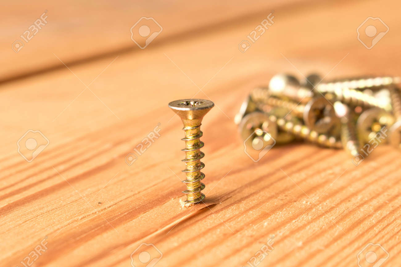 Awesome Screws On A Wooden Workbench The Concept Of Work Squirreltailoven Fun Painted Chair Ideas Images Squirreltailovenorg