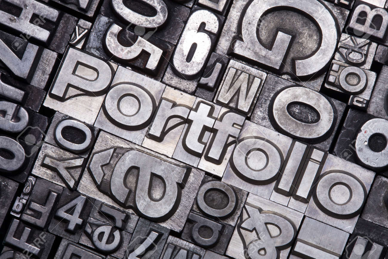 lead type letters form the word portfolio stock photo picture and