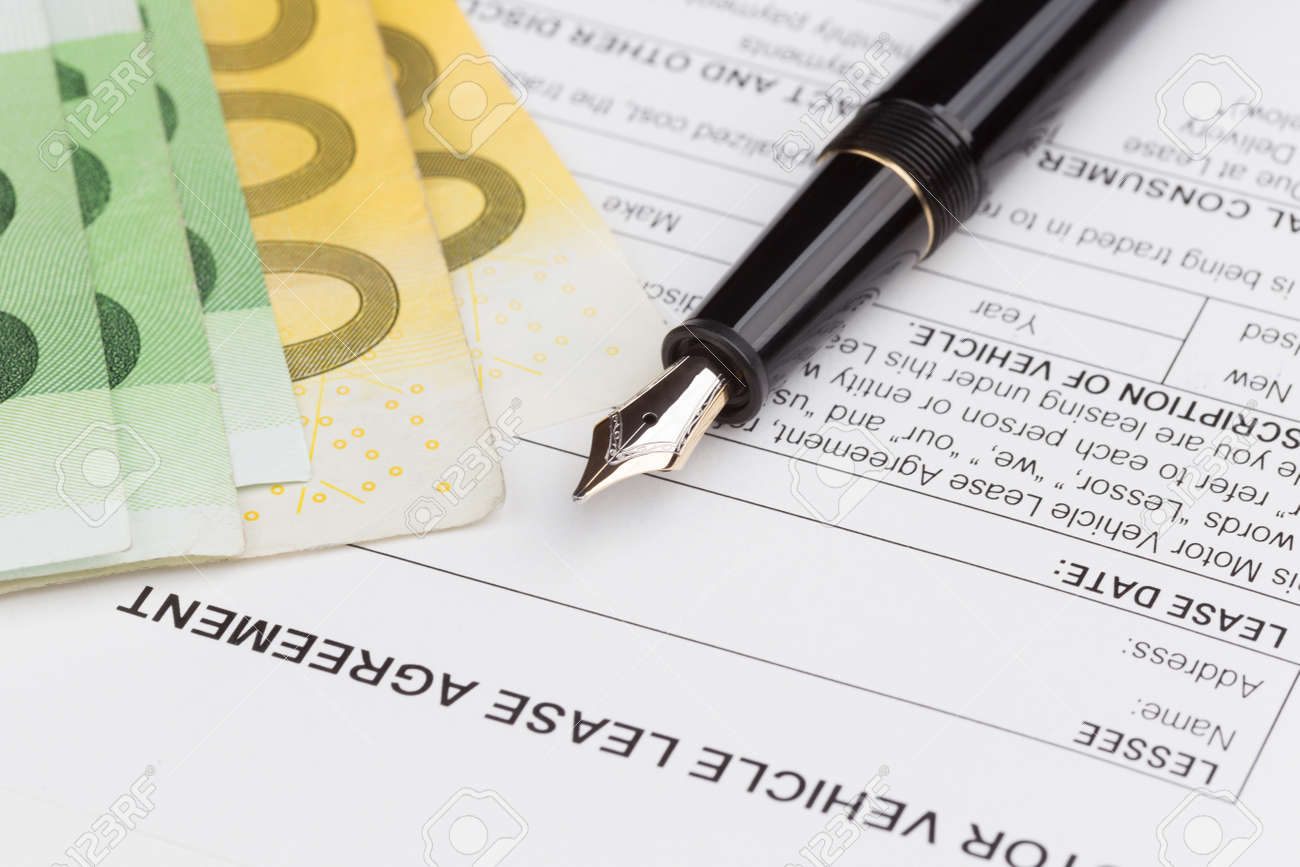Lease Motor Vehicle Document Agreement With Fountain Pen Stock Photo