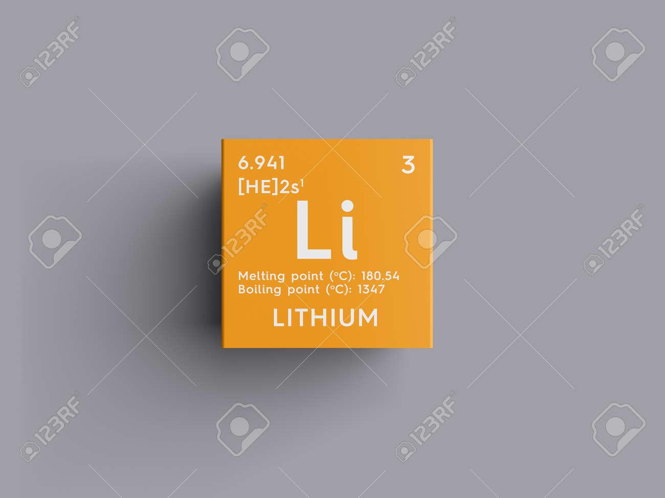 Litio metales alcalinos elemento qumico de la tabla peridica de metales alcalinos elemento qumico de la tabla peridica de mendeleev litio en cubo cuadrado concepto creativo urtaz Gallery