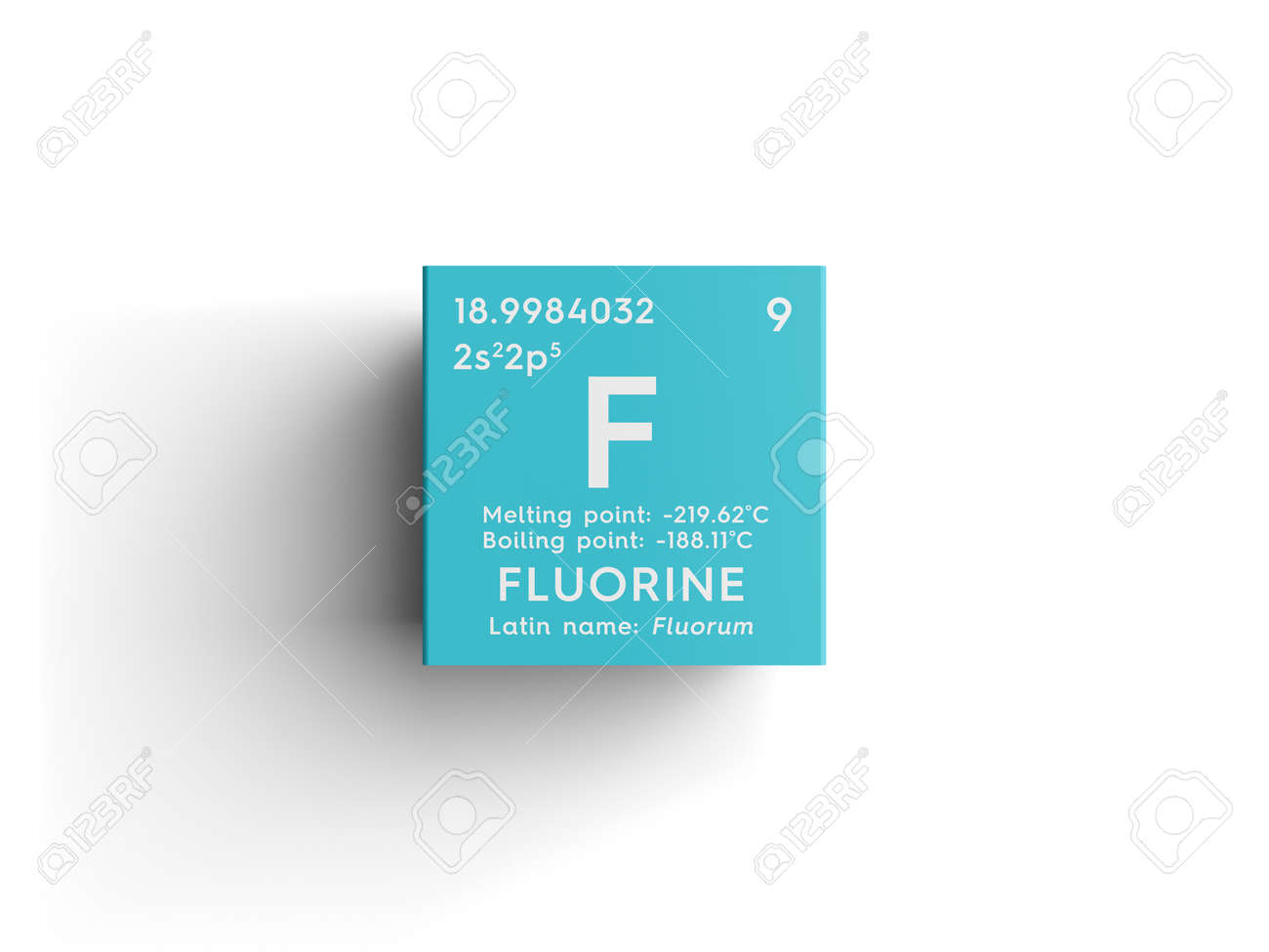Fluorine halogens chemical element of mendeleevs periodic stock fluorine halogens chemical element of mendeleevs periodic table fluorine in a square cube urtaz