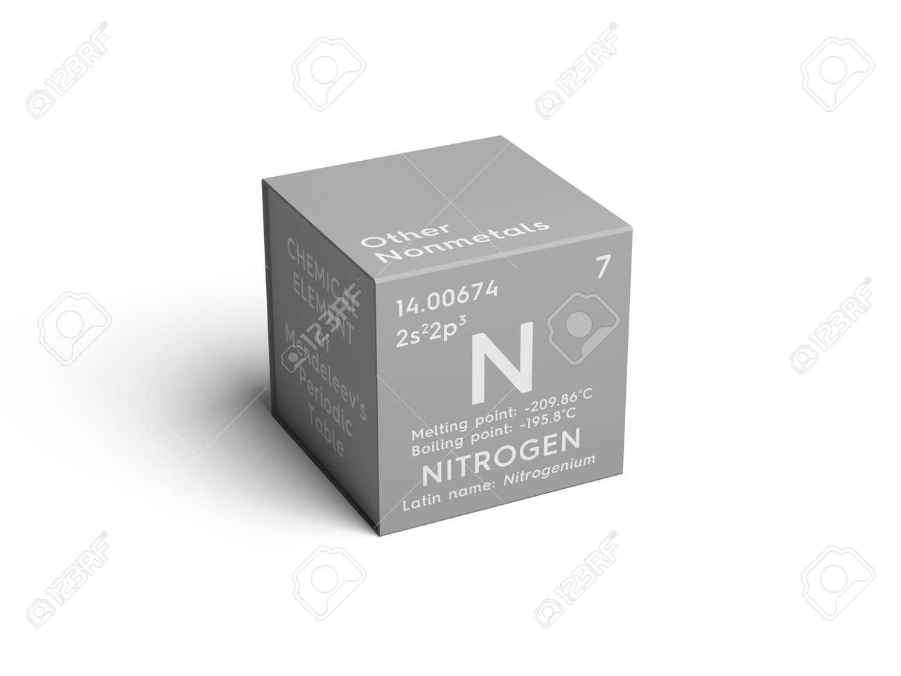 Nitrgeno otros no metales elemento qumico de la tabla peridica foto de archivo nitrgeno otros no metales elemento qumico de la tabla peridica de mendeleev nitrgeno en un cubo cuadrado concepto creativo urtaz Image collections