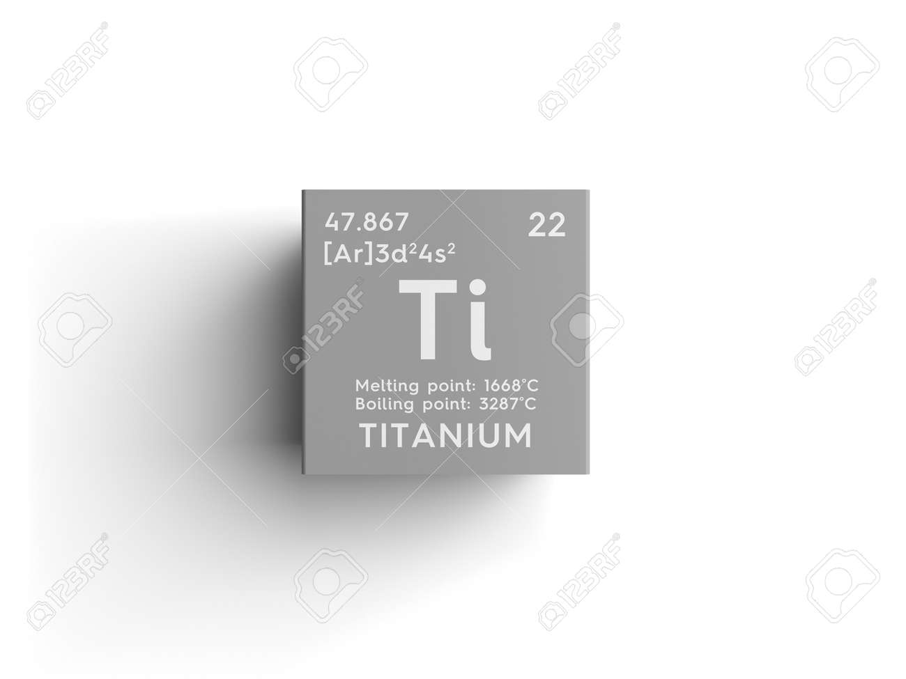 Titanium. Transition Metals. Chemical Element Of Mendeleevu0027s Periodic Table.  Titanium In Square Cube