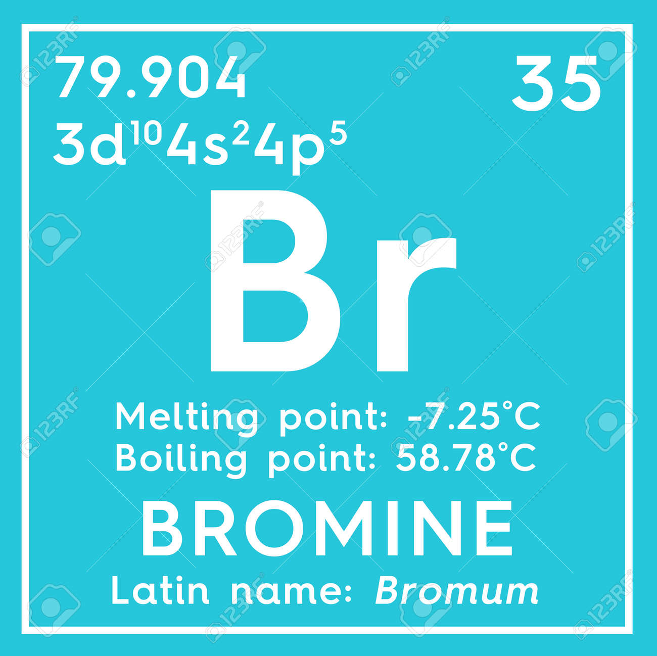 Bromine bromum halogens chemical element of mendeleevs chemical element of mendeleevs periodic table bromine in square gamestrikefo Images