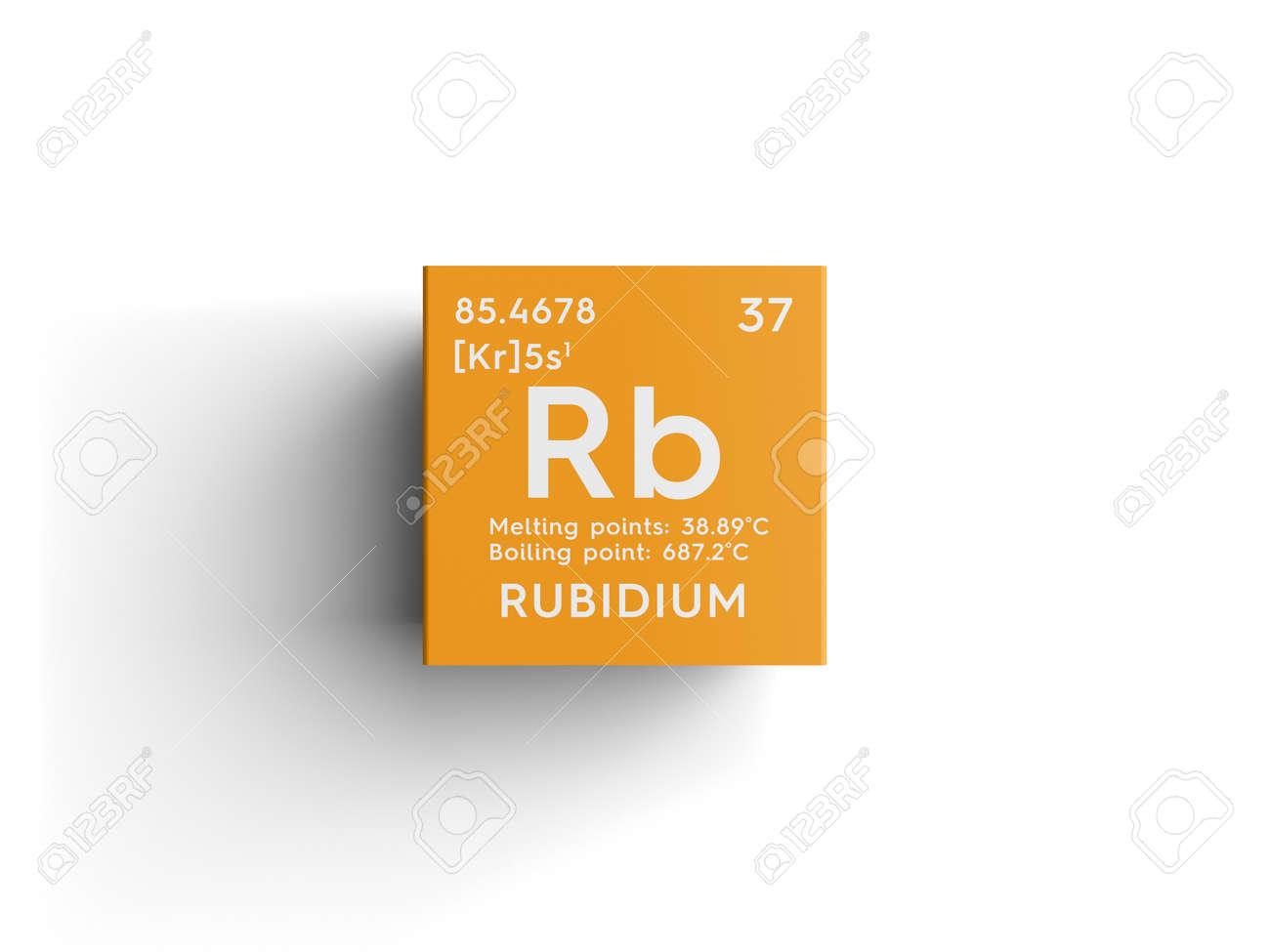 Rubidio metales alcalinos elemento qumico de la tabla peridica metales alcalinos elemento qumico de la tabla peridica de mendeleev rubidium en un cubo cuadrado concepto creativo urtaz Gallery