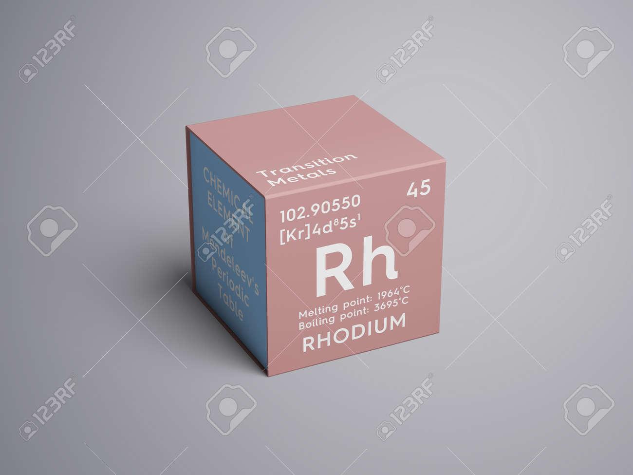 Rodio metales de transicin elemento qumico de la tabla peridica metales de transicin elemento qumico de la tabla peridica de mendeleev rodio en un cubo cuadrado concepto creativo urtaz Image collections